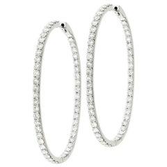 Special Oval Shaped Inside Out Diamond Hoop Earrings