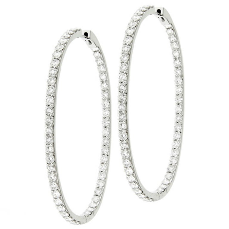Special Oval Shaped Inside Out Diamond Hoop Earrings For