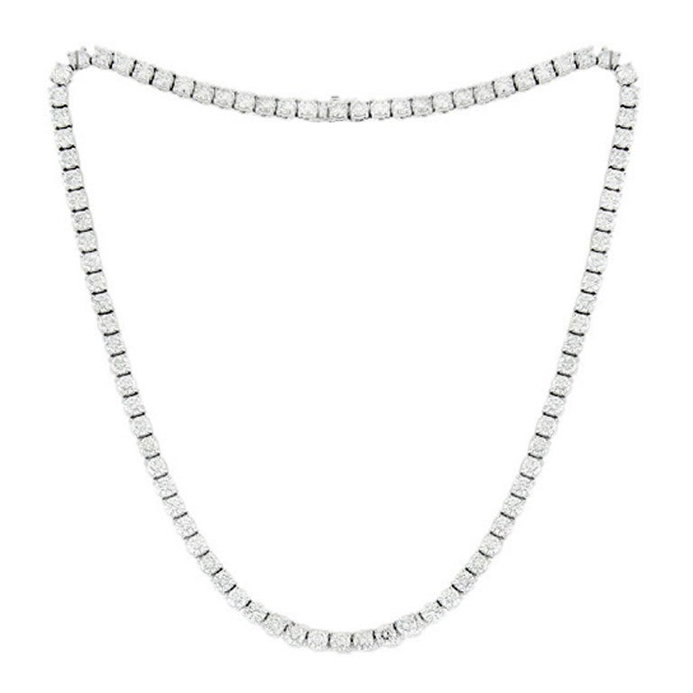 Ideal Diamond Tennis Necklace For Sale