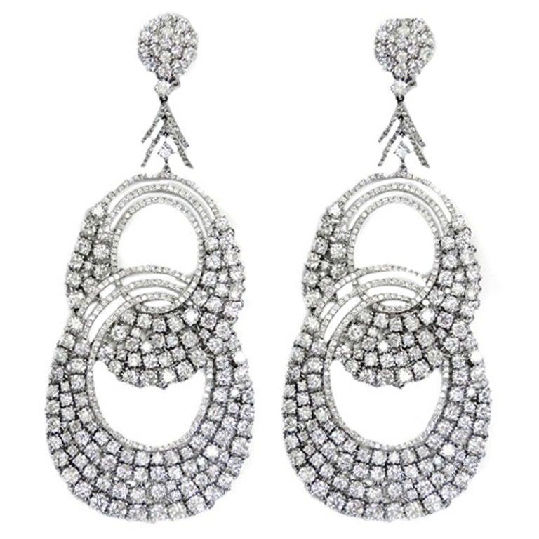 Modern Diamond 35.50 carats Diamond Hoop Earrings 1