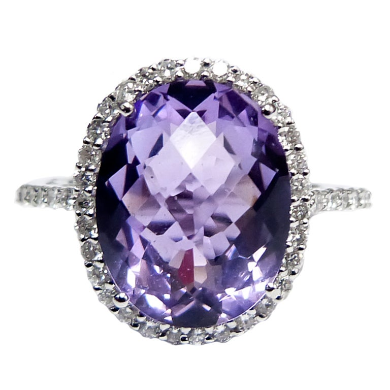 Purple Amethyst Diamond Cocktail Ring 1