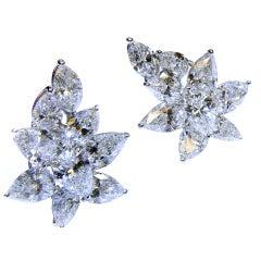 GIA Cert Diamond Platinum Floral Cluster Earrings