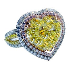 Spectacular Fancy Yellow Heart Shape Diamond Ring