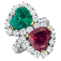 Emerald, Ruby and Diamond Ring