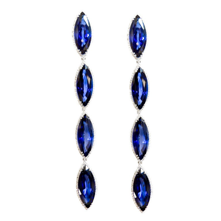 Beautiful Blue Chatham Sapphire Earrings At 1stdibs