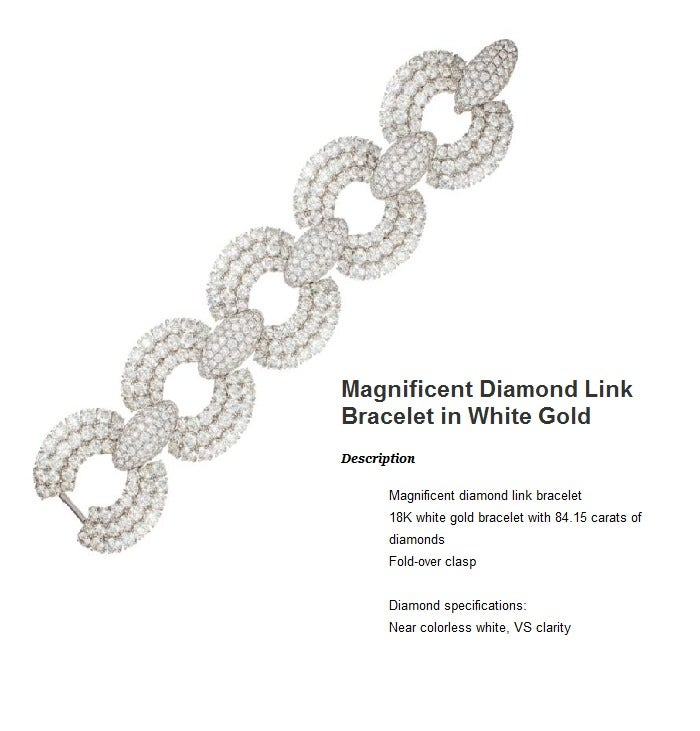 Women's Magnificent Diamond Link Bracelet in White Gold For Sale