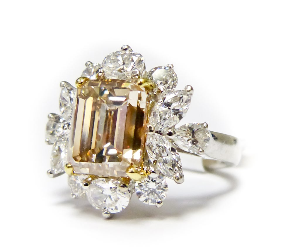 Cluster Fancy Brownish Yellow Diamond Ring 2
