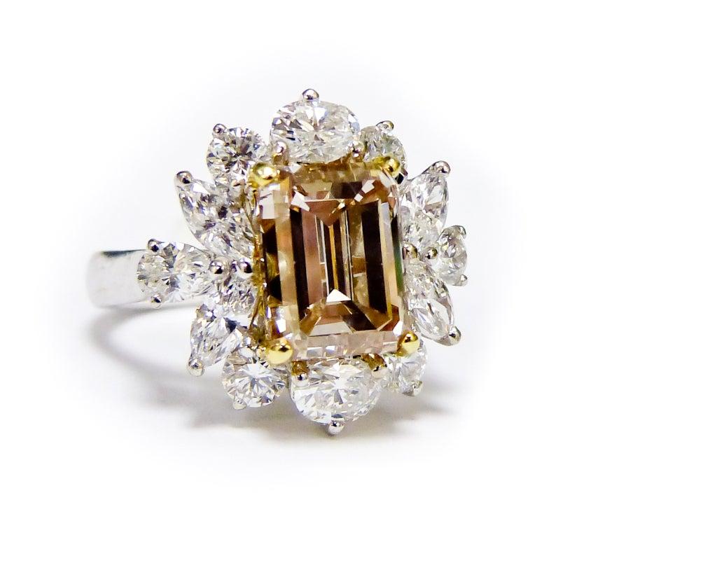 Cluster Fancy Brownish Yellow Diamond Ring 3