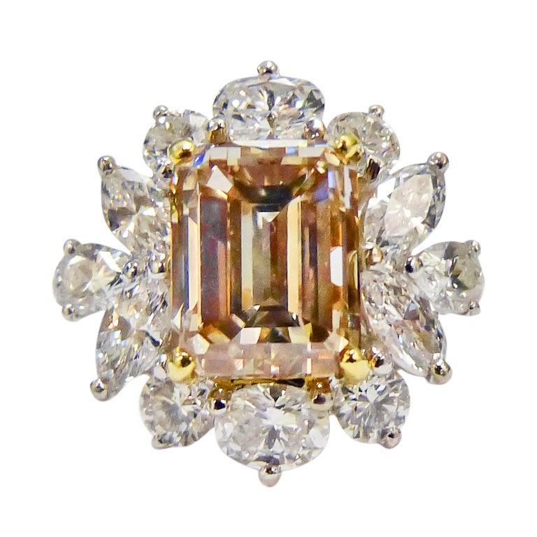 Cluster Fancy Brownish Yellow Diamond Ring 1