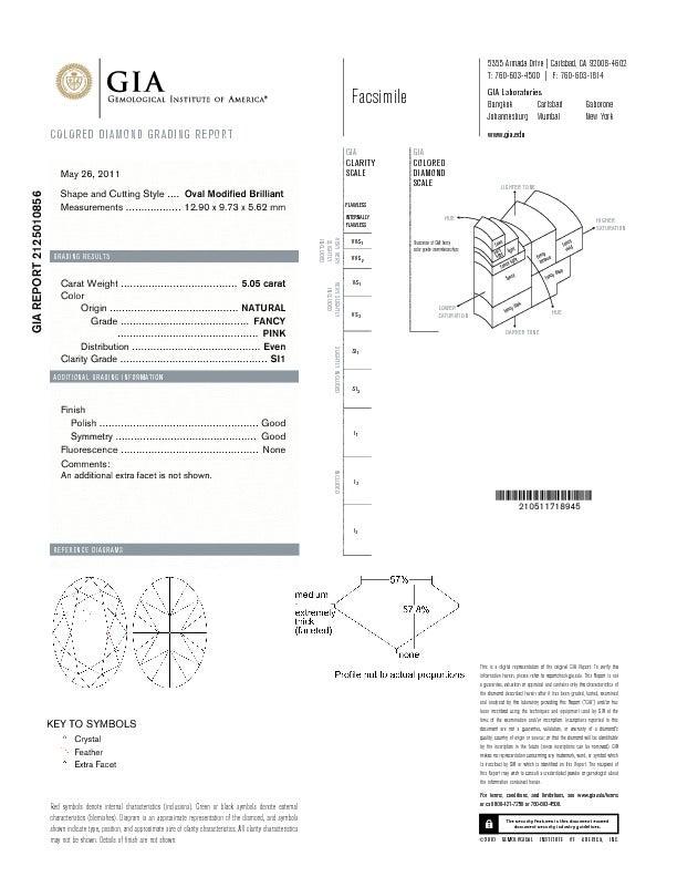 Natural 5.05 Carat Fancy Pink GIA Certified Diamond RIng. 2