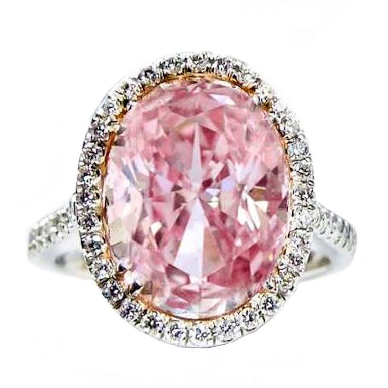 Natural 5.05 Carat Fancy Pink GIA Certified Diamond RIng. 1