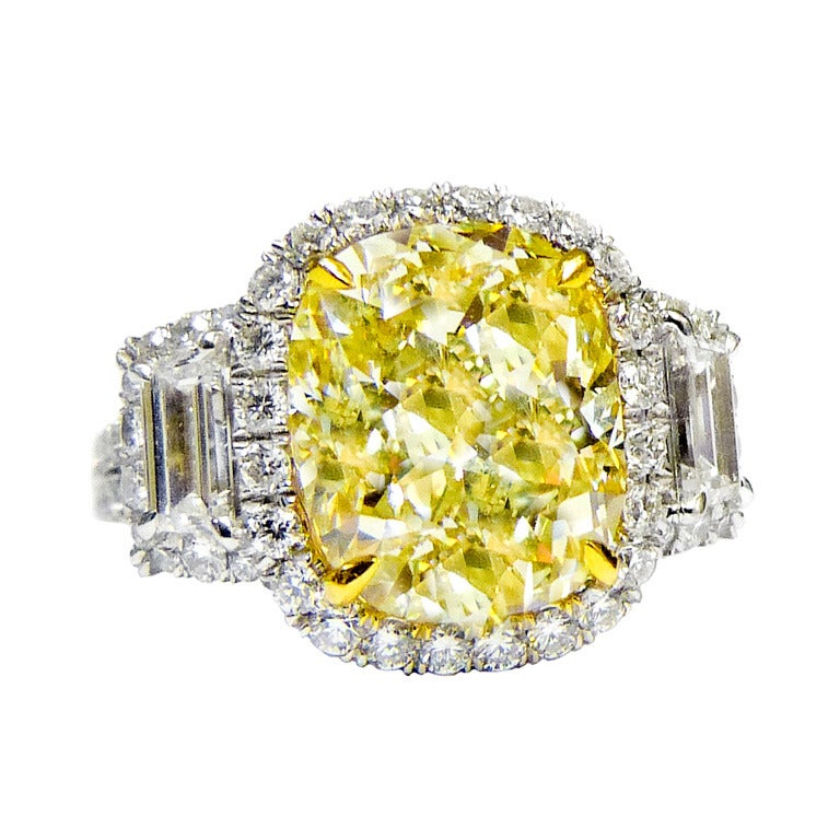 canary yellow 5 01 carat fancy yellow ring for