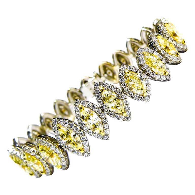 An Impressive Fancy Yellow Diamond Bracelet At 1stdibs