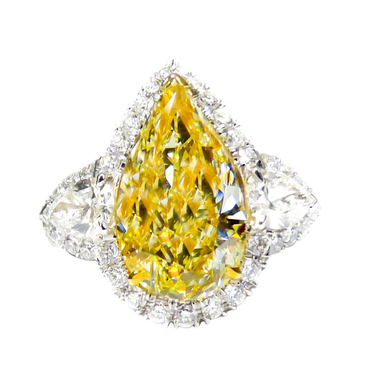 Passionate Fancy Yellow Pear Shaped Gia Cert 5 33 Carat