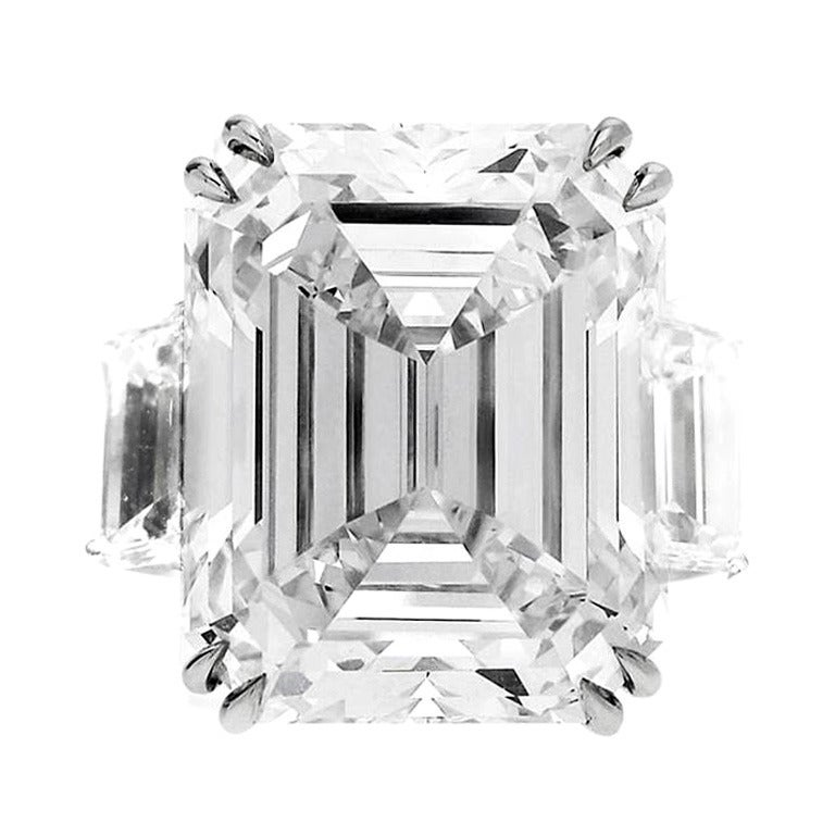 GIA Certified 13.50 carats Emerald Cut Diamond  Engagement Ring For Sale