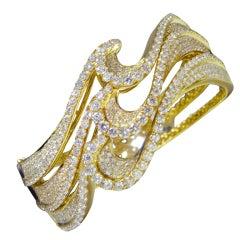 Modern Diamond Gold Wave Bangle