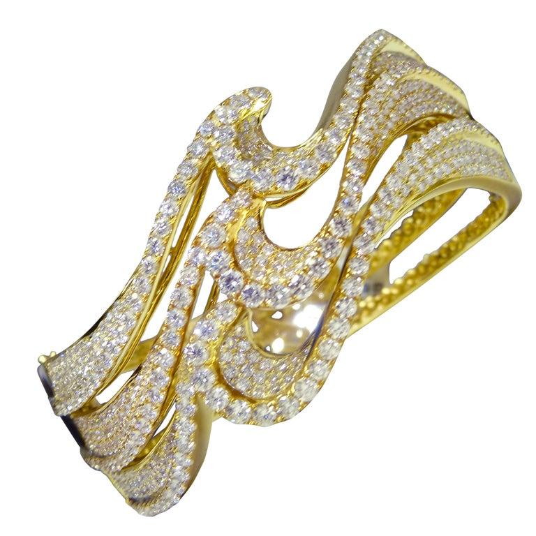 Modern Diamond Gold Wave Bangle For Sale