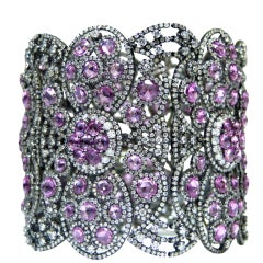 Pink Sapphire and Diamond Soft Bangle