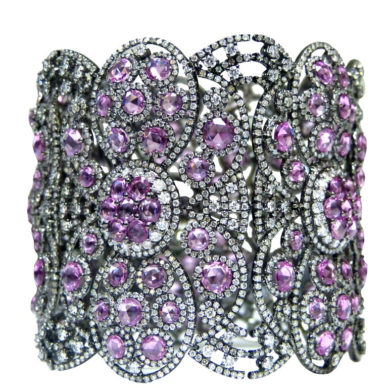 Diamond and Pink Sapphire  Soft Bangle 1