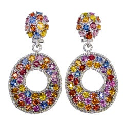 Multi  Colored Sapphire and Diamond Earrings
