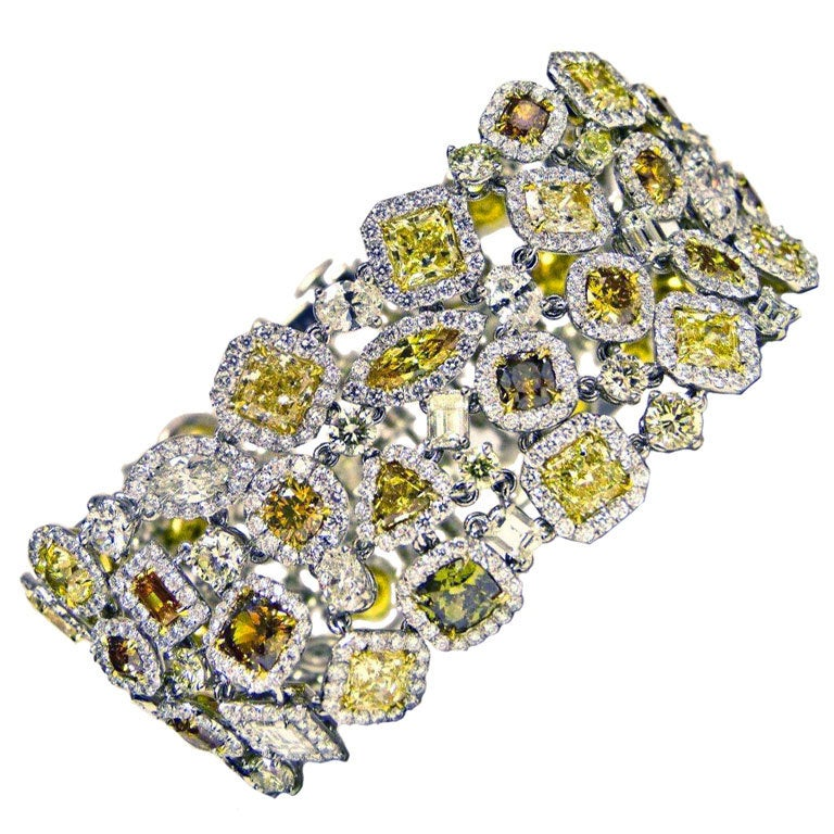Magnificent Fancy Intense Color Diamond Bracelet For Sale