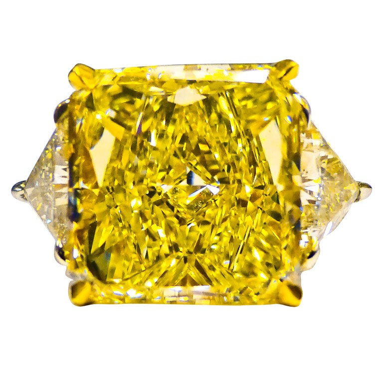 Magnificent 11.33 CT. GIA Certified.  Fancy Yellow Diamond Ring 1