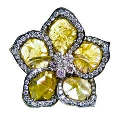 Rare Fancy Yellow Rose Cut Diamond Ring