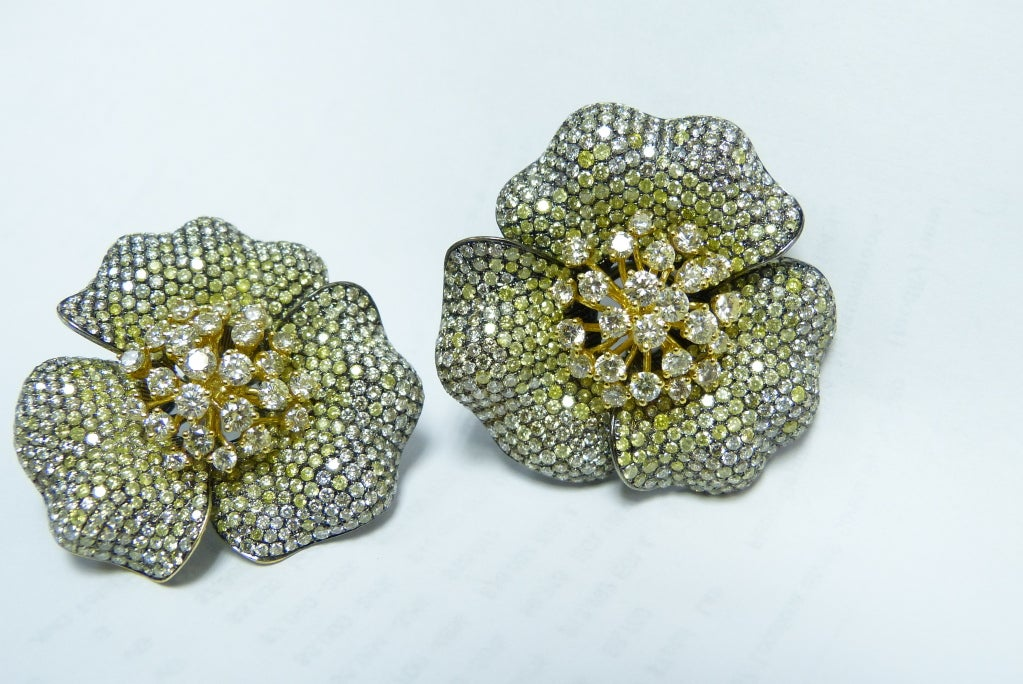 Goldiva Floral Collection Fancy Diamond Earrings At 1stdibs