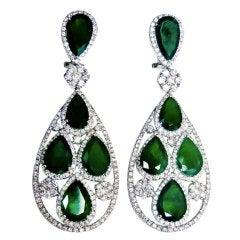 Luxury Emerald and Diamond Earrings