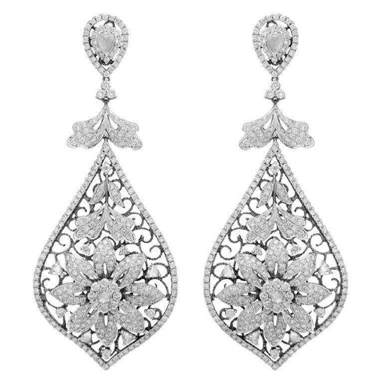 Diamond Flower Earrings 1