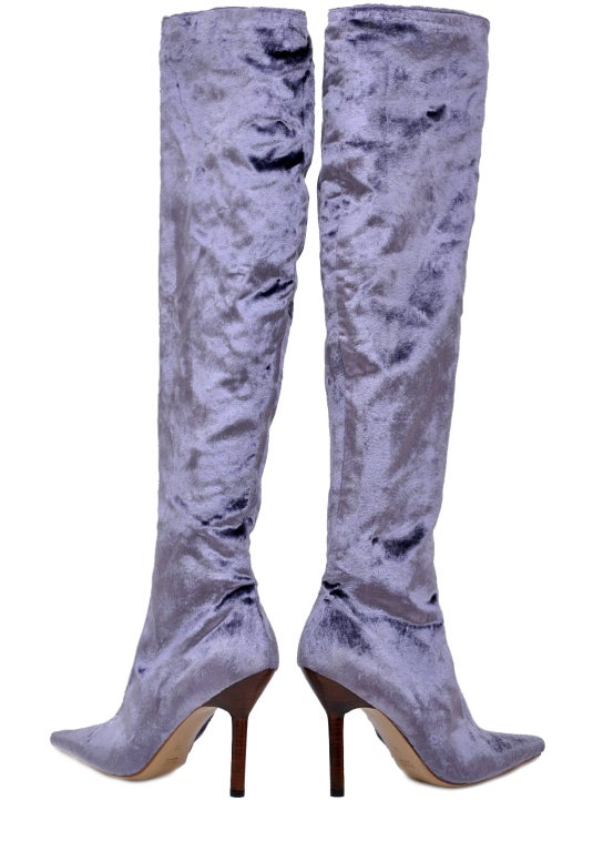 TOM FORD FOR GUCCI VELVET OVER THE KNEE BOOTS New! 3