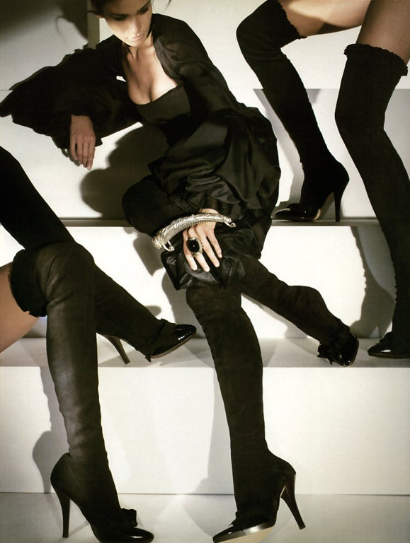 Women's A/W 2001 TOM FORD for YVES SAINT LAURENT BLACK OTK BOOTS 37 - 7 For Sale
