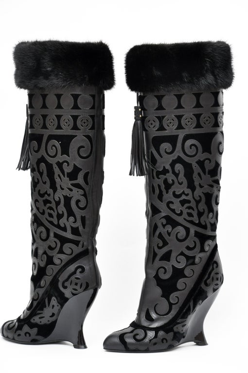 TOM FORD FOR YVES SAINT LAURENT BLACK LEATHER BOOTS sz 36 3