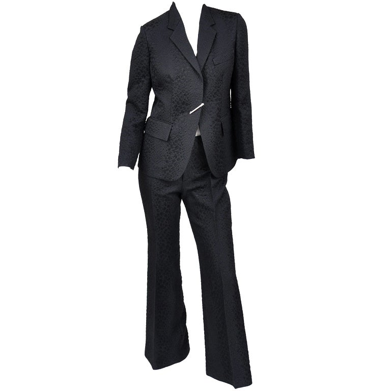 Tom Ford for Gucci Crocodile textured Pant Suit with Pin