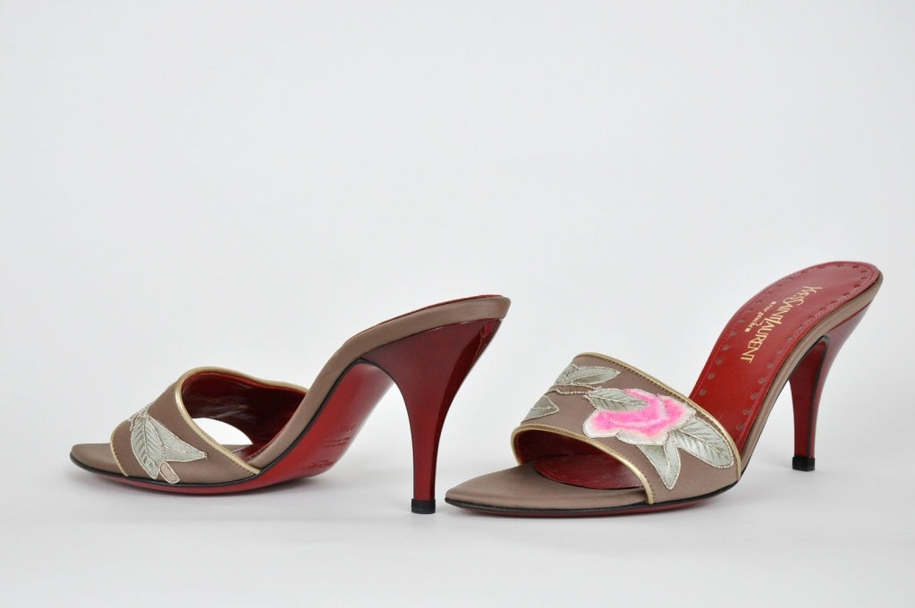 TOM FORD for Yves Saint Laurent Embroidered Lotus SHOES ***New*** In New Never_worn Condition For Sale In Montgomery, TX