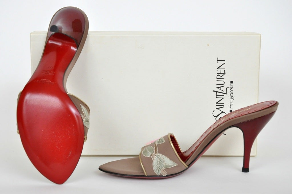 TOM FORD for Yves Saint Laurent Embroidered Lotus SHOES ***New*** For Sale 1