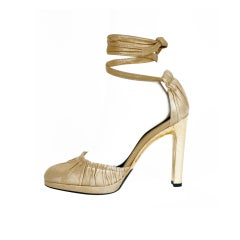 Tom Ford for Gucci gold leather and snakeskin shoes