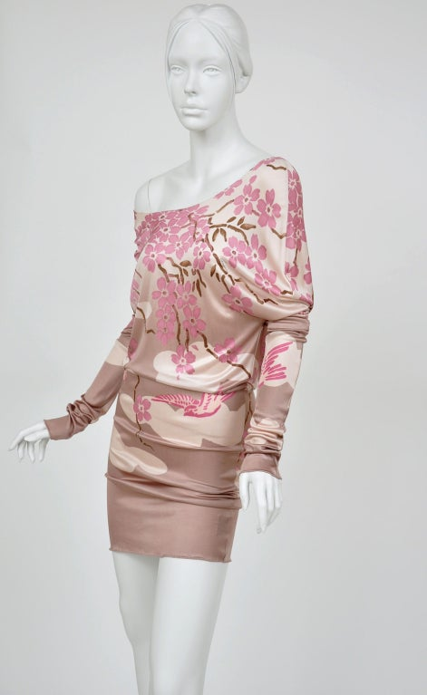 Beige Tom Ford for Gucci Japanese Print Dress For Sale