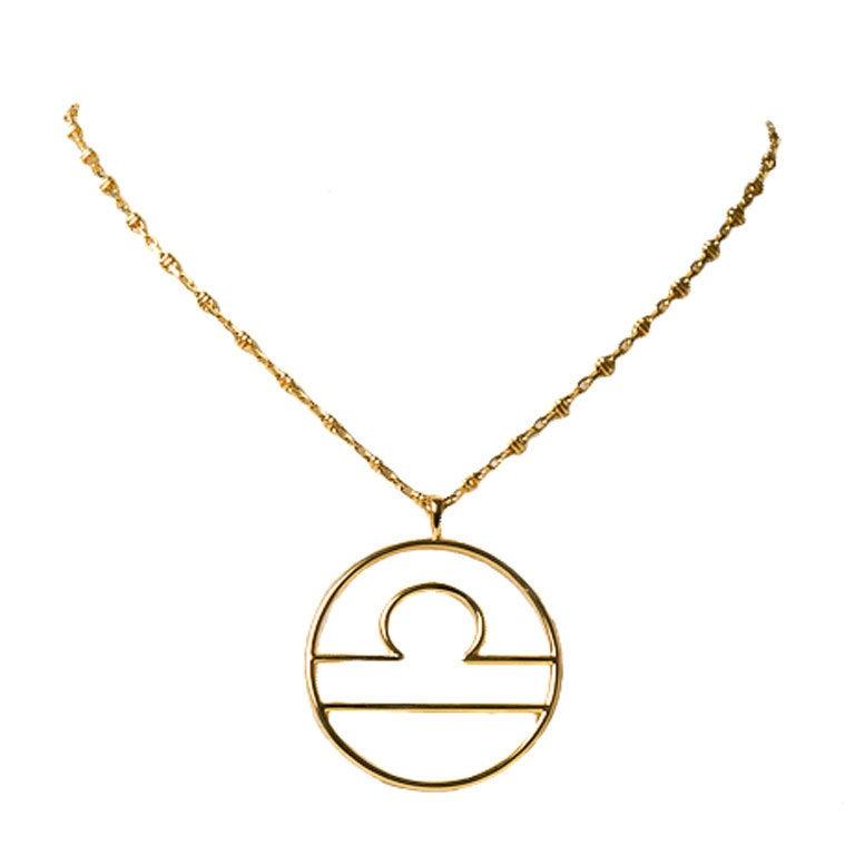 gold libra zodiac sign necklace at 1stdibs