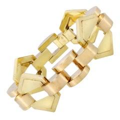 Past Era Austrian Retro Rose and Yellow Gold Geometric Link Bracelet