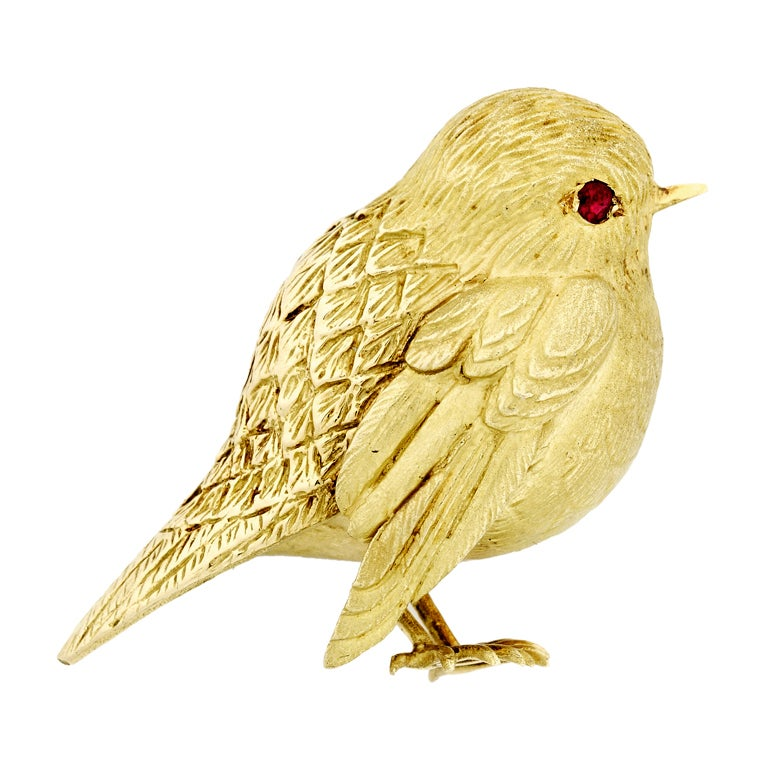 Herm 232 S Paris Gold Bird Pin With Ruby Eye At 1stdibs
