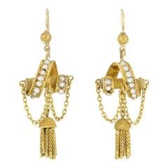 Mid Victorian Seed Pearl and Tassel Drop Earrings