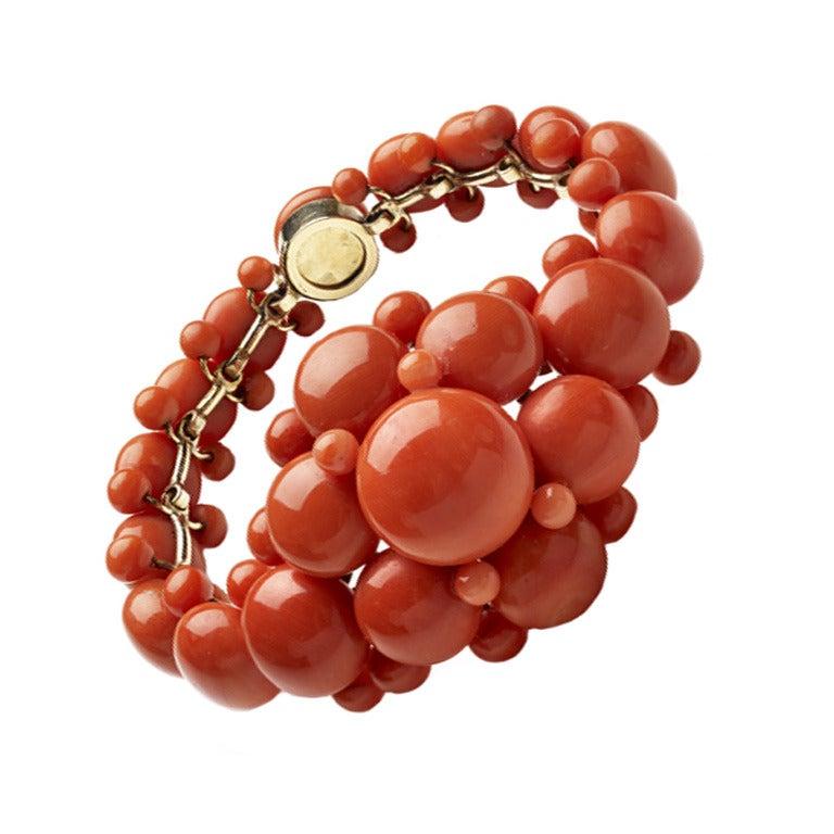 Mid Victorian Coral Button Bracelet For Sale