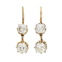 Late Victorian Old Mine-Cut Diamond Rose Gold Double Drop Earrings