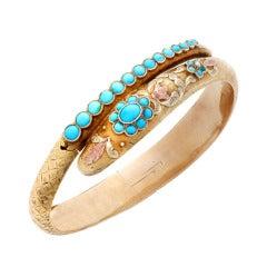 Georgian Turquoise Gold Snake Bracelet with Chasing