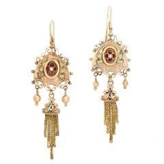 Victorian Black Enamel Fringe Pearl Garnet Earrings