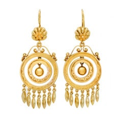 Mid Victorian Gold Circular Drop Earrings with Fringe