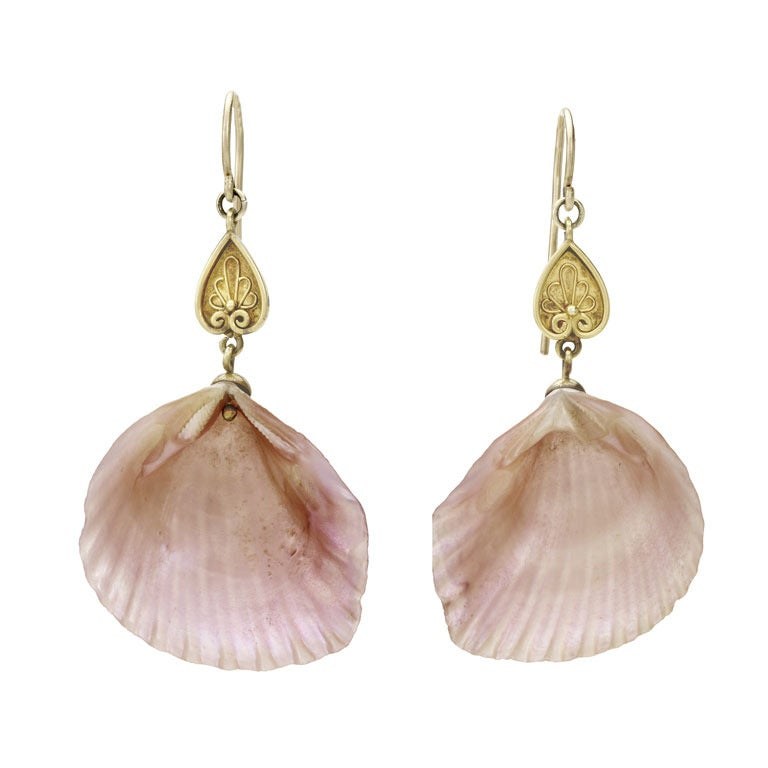Early Victorian Pink Shell Drop Earrings 1