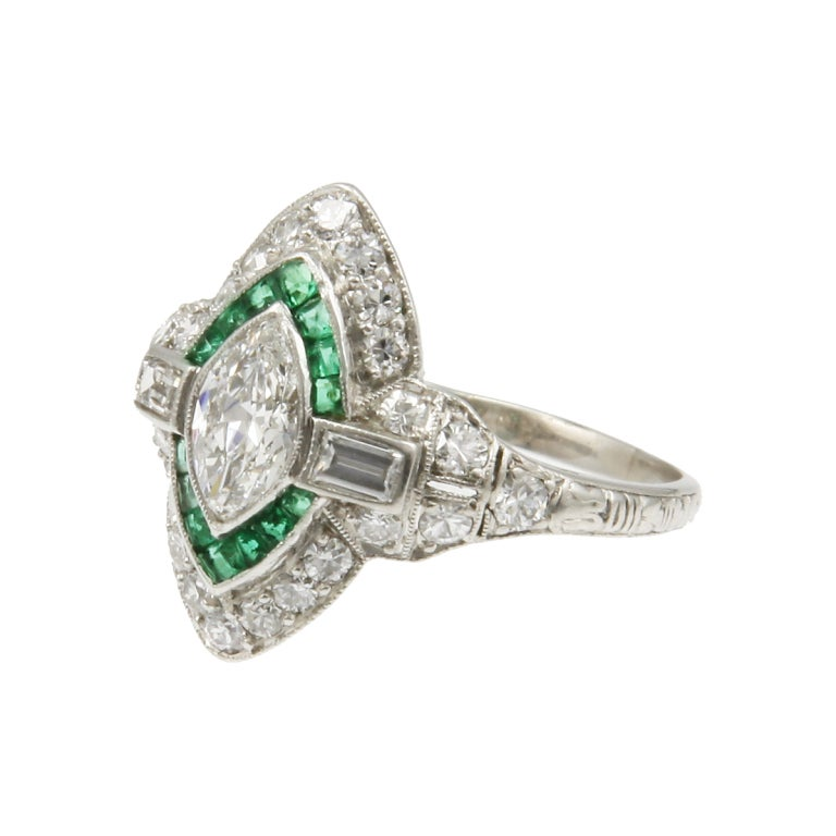 deco emerald navette target ring at 1stdibs