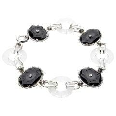 Art Deco Onyx Rock Crystal White Gold Carved Link Bracelet